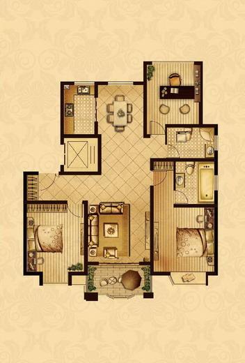 点击图片放大 二室+1室二厅二卫122.1平米B户型