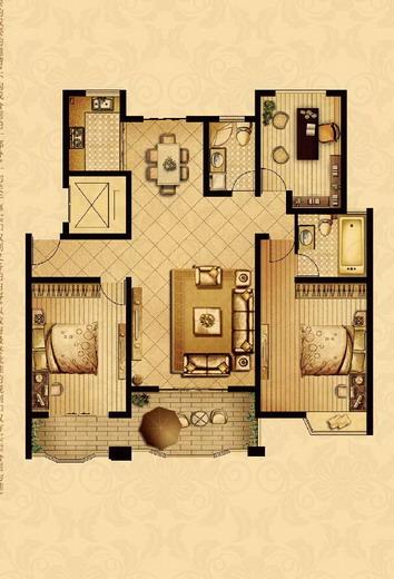 点击图片放大 二室+1室二厅二卫125.1平米D户型