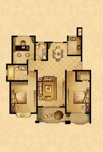 点击图片放大 二室+1室二厅二卫130.8平米 C户型