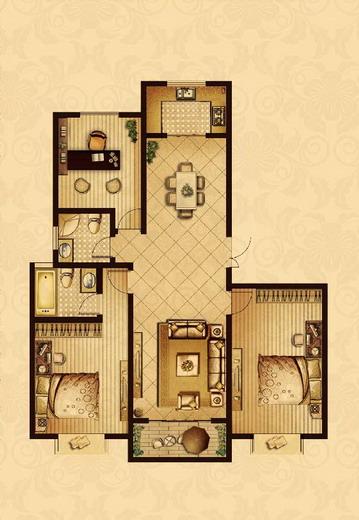点击图片放大 二室+1室二厅二卫138.2平米F户型