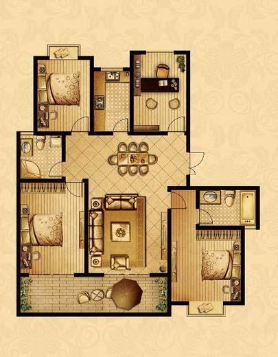 点击图片放大 三室+1室二厅二卫152.3平米G户型