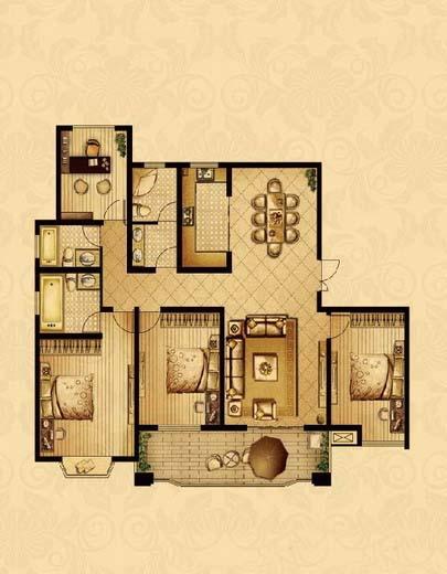 点击图片放大 三室+1室二厅三卫175.8平米