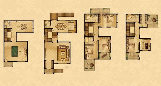 点击图片放大 四室二厅四卫265平米联排别墅
