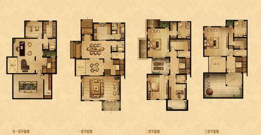 点击图片放大 四室二厅四卫298平米双拼别墅