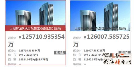 吴江太湖新城2宗地块终止竞拍公告