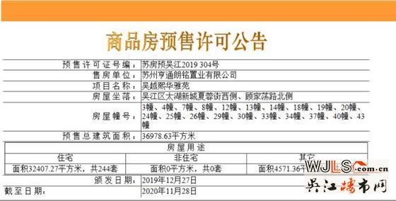 亨通朗诗熙华府首领预售证  备案价23764-31200元/平方米