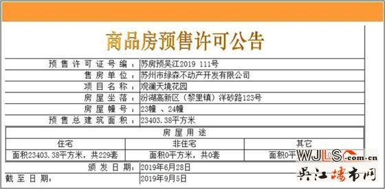 观澜天境花园领预售证 备案价17236-19446元/平